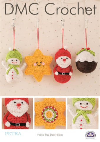 Festive Tree Decorations - DMC Crochet Pattern