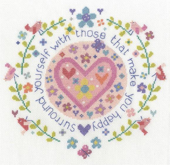 DMC - Messages - Surround Yourself With Those Who Make You Happy Cross Stitch Kit - BK1659