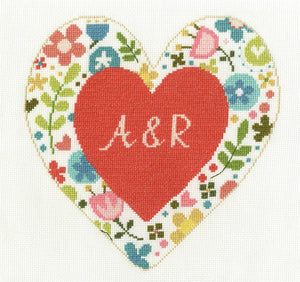 DMC - Personalised Heart Cross Stitch Kit - BK1650