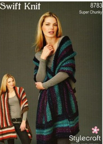 Super Chunky Striped Wrap Knitting Pattern - Stylecraft 8783