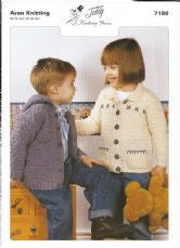 Teddy Knitting Pattern 7180 - Kids Aran Jackets