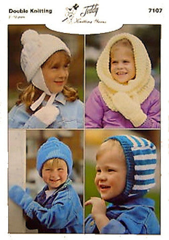 Children's Hats Knitting Pattern - Teddy 7107