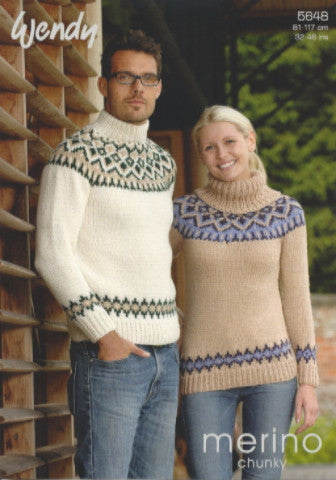 Unisex Fair Isle Yoke Sweater Pattern - Wendy 5648