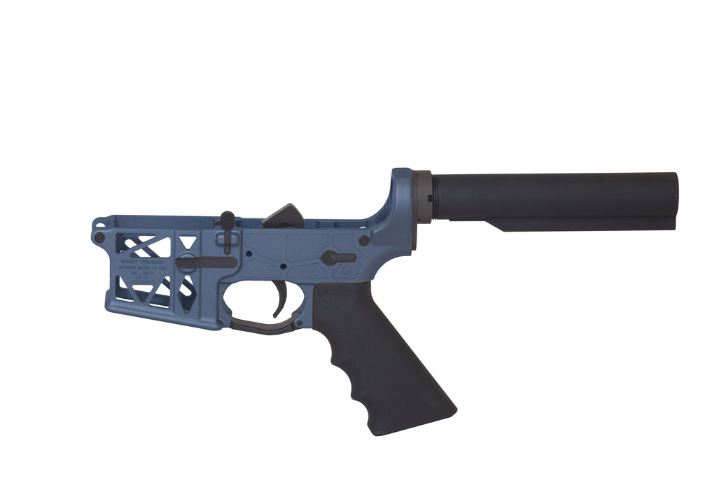 Ghost Complete Rifle Skeletonized Lower Receiver - Blue Titanium