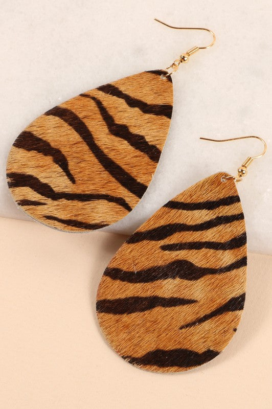 Zebra Print Leather Earrings
