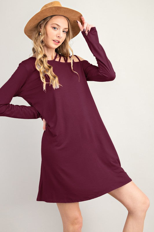 Remind Me Strappy Shoulder Dress - Burgundy