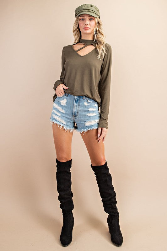 Vivacious Olive Cut Out Top