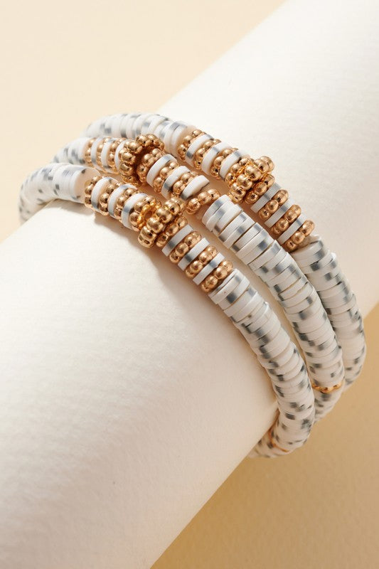 Winter Time Beaded Bracelet Set - White/Grey
