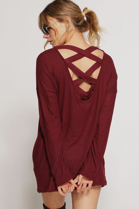 Cranberry Crush Strappy Sweater