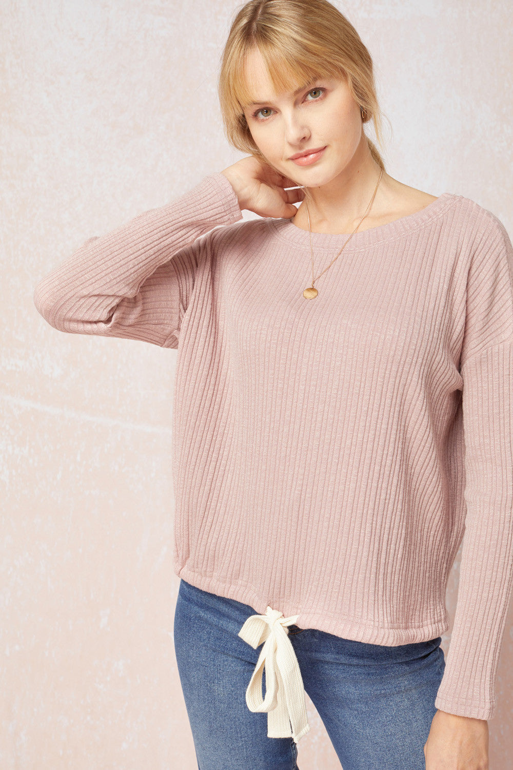 Dusty Rose Tie Front Top