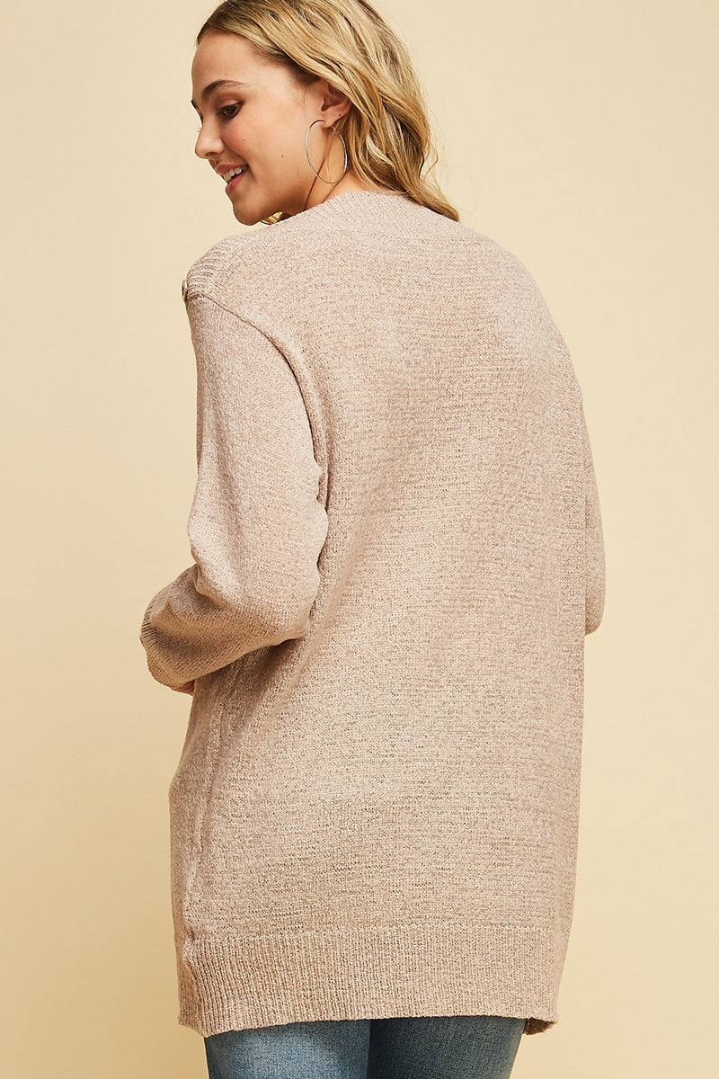 Mocha Button Detail Sweater