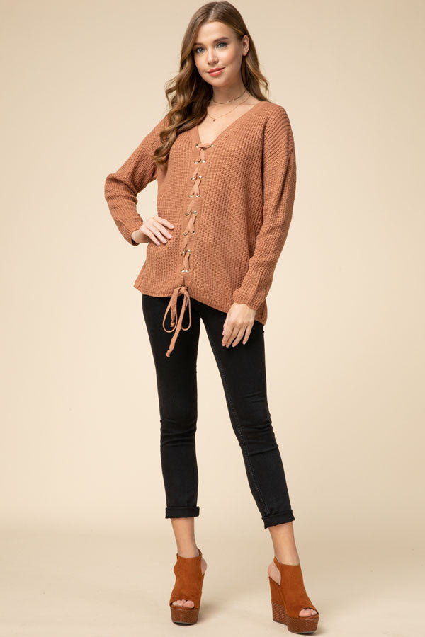 Dust Storm Lace Up Sweater