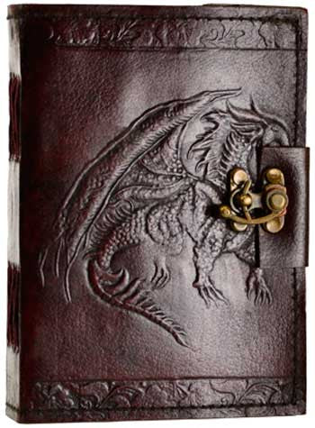 Single Dragon leather blank book with latch - House Of Aton