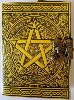 Black and Yellow Pentagram leather blank book with latch