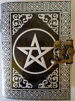 Black and Silver Pentagram leather blank book with latch