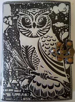 Black and Silver Owl leather blank book with latch