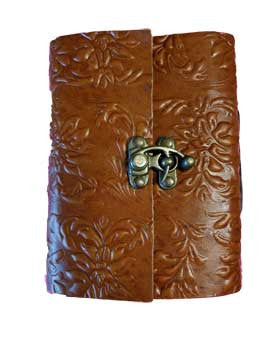 "4"" x 5"" Flower Embossed leather blank book with latch"