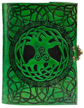 Tree of Life leather Green with latch - House Of Aton