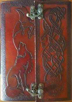 "7"" x 10"" Wolf leather blank book with latch - House Of Aton - 1"