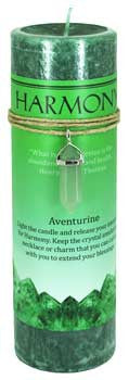 Harmony pillar candle with Aventurine pendant