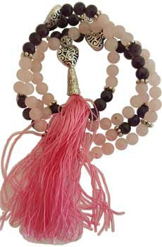 Rose Quartz and Amethyst Heart Elastic Mala - House Of Aton