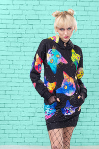 Cosmic Kitties Hoodie Hoodies >> BADINKA