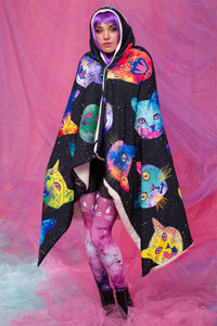 Cosmic Kitties Hoodie Blanket Blankets >> BADINKA