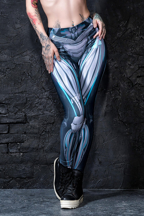 Mechanical Leggings Cyan