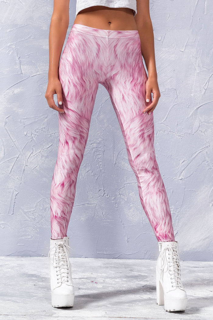 PINK FUR LEGGINGS Leggings >> BADINKA