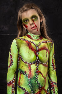 Girl's Frankenstein Bride Costume Bodysuit >> BADINKA