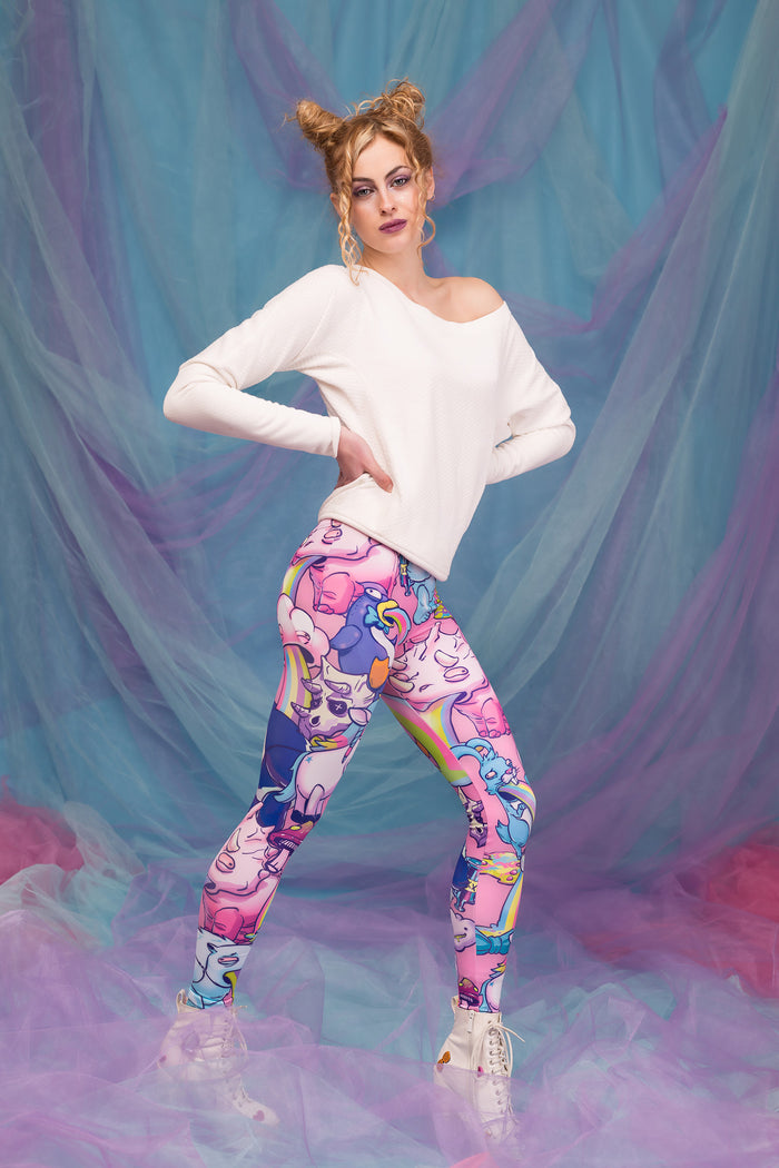 SICK OF YOU WARM LEGGINGS (PINK) Winter Leggings >> BADINKA