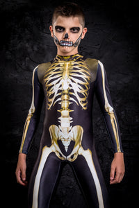 Boys Graveyard Skeleton Costume Bodysuit >> BADINKA
