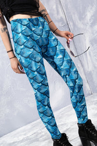 BLUE MERMAID LEGGINGS Leggings >> BADINKA