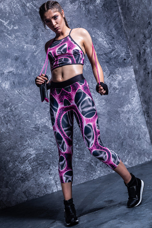 Magenta Braincell Capri Leggings