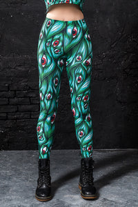 I SEE YOU GREEN LEGGINGS Leggings >> BADINKA