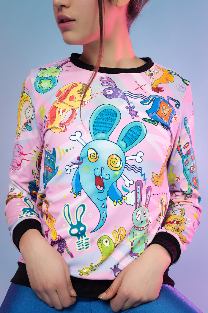 PINK RABBIDELIC SWEATER