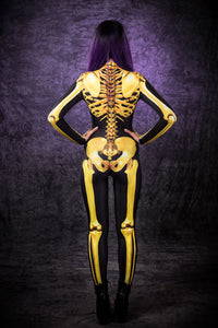 Golden Skeleton Costume Bodysuit >> BADINKA