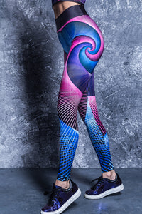 SPIRAL FOCUS HW LEGGINGS PURPLE High Waist Leggings >> BADINKA