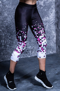 PIXEL COLLAPSE CAPRI LEGGINGS Capri Leggings >> BADINKA