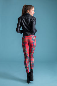 Red Tartan Leggings Leggings >> BADINKA