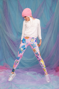 Rabbidelic Warm Leggings (Pink) Winter Leggings >> BADINKA