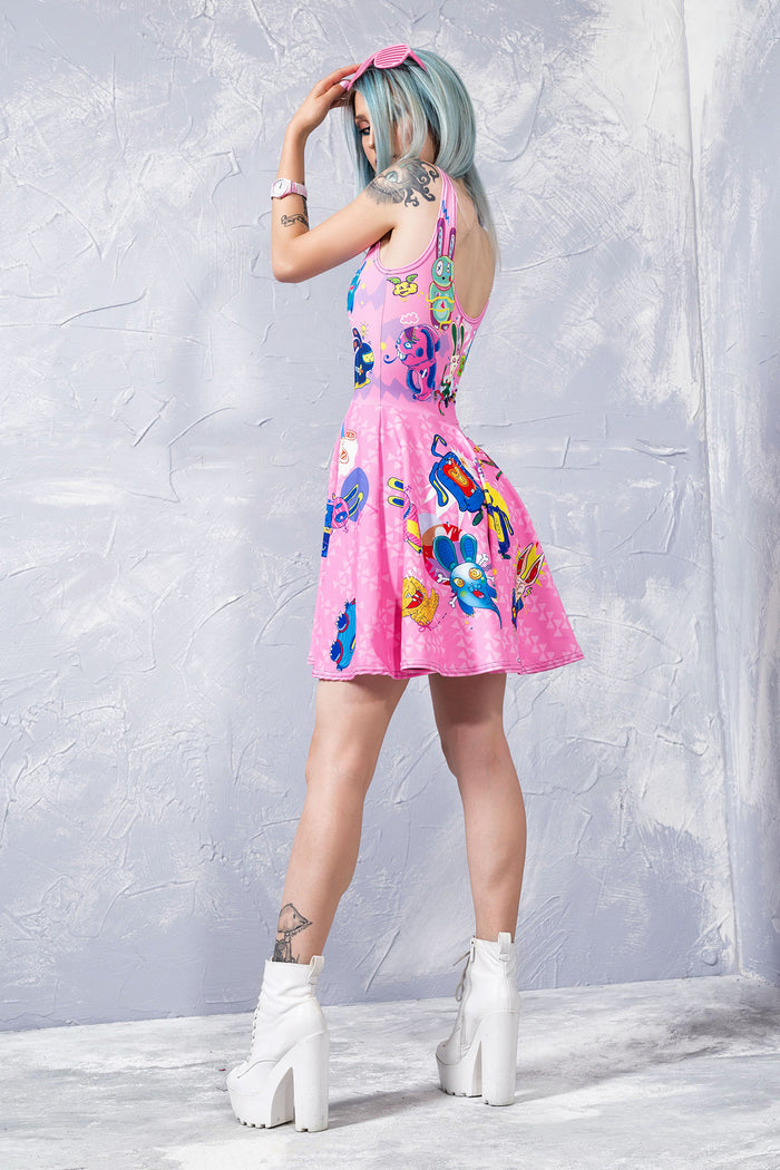 PINK RABBIDELIC SKATER DRESS Dresses >> BADINKA
