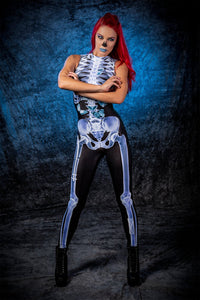 X-Ray Skeleton Sleeveless Costume Bodysuit >> BADINKA