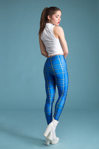 Blue Tartan Leggings Leggings >> BADINKA