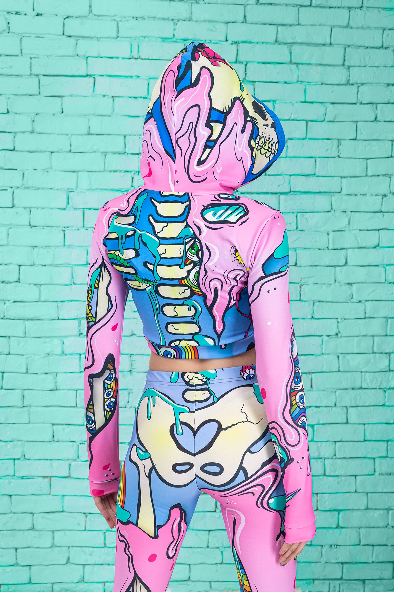 KAWAII POP ART SKELETON HOODED TOP TOP >> BADINKA