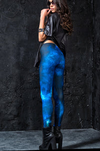 BLUE GALAXY LEGGINGS Leggings >> BADINKA