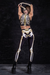 Graveyard Skeleton Leggings Leggings >> BADINKA