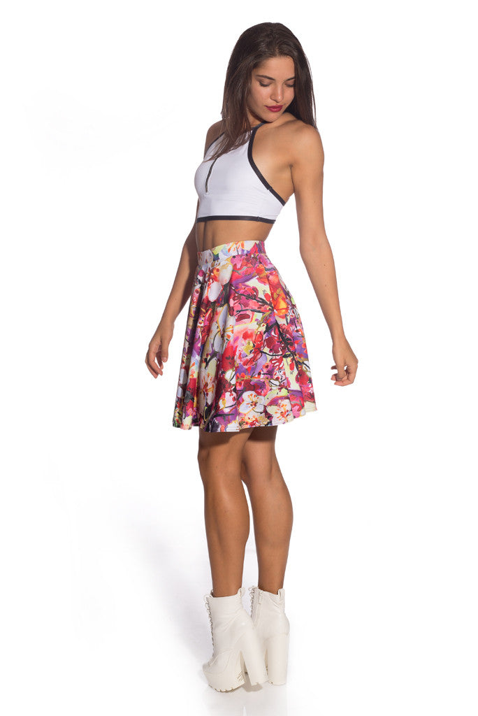 Pastel Flowers Skater Dress Skirts >> BADINKA