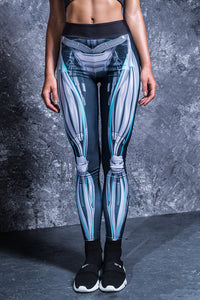 Mechanical Hw Leggings Cyan High Waist Leggings >> BADINKA