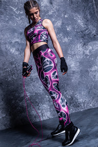 Magenta Braincell Hw Leggings High Waist Leggings >> BADINKA